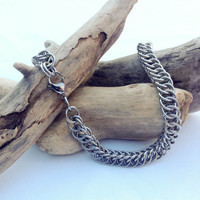 Large Stainless Steel Half Persian Boyfriend Girlfriend Bracelet - Ready to Ship