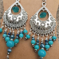 Silver and blue sparkly dangle beaded chandelier earrings 3 inches long for boho summer festivals