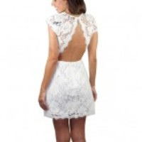 White Lace Dress With Open Back