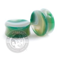 Green Line Agate Concave Stone Plugs