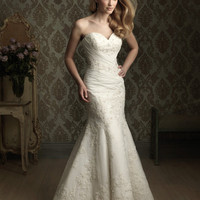 White Lace & Chiffon Fitted Strapless Embellished Wedding Gown - Unique Vintage - Cocktail, Evening & Pinup Dresses