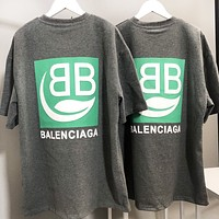 BALENCIAGA Summer Hot Sale Women Men Print Short Sleeve T-Shirt Top