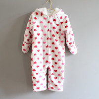 Hearty baby girl micro fleece sherpa hooded winter jumper snowsuits 12 to 24 months