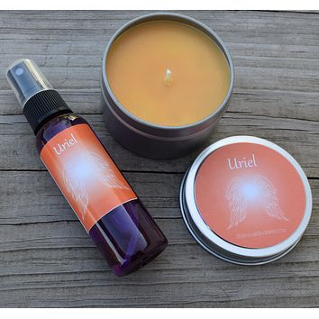 Angel Uriel Gift Set - Passion & Purpose - Guardian Angel Uriel Candle & Meditation Spray with Carnelian Crystals