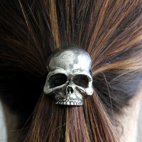 Silver Skull Pony Tail Holder / Necklace in White Bronze  by mrd74