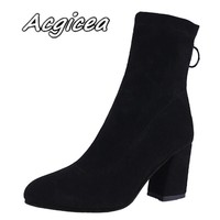 Booties female 2018 new winter wild thick with ankle boots fashion simple pointed shallow mouth comfortable high heel boots w47