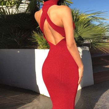Hot style hot selling halter back cross sexy patchwork dresses