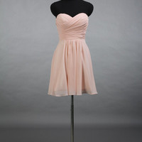 Sweetheart Short Pearl Pink Bridesmaid Dress, A-line Short Chiffon Bridesmaid Dress