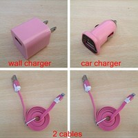 Home AC Wall+Car Charger+2 x USB Data Sync Cables For iPhone 5