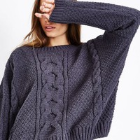 Dark Grey Chenille Cable Knit Oversized Jumper | New Look