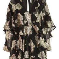 Gold Ruffle Sleeve Playsuit - New In Fashion - New In