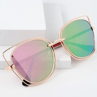 Rebekah Rose Gold and Pink Mirrored Cat-Eye Sunglasses