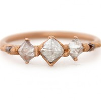 Triple Pyramid Diamond Halo Ring « Bespoke Designer Jewellery | Polly Wales