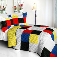 Smashing Patchword A Vermicelli Quilted Patchwork Quilt Set Full/Queen