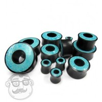 Crushed Turquoise Stone Inlay Tunnel Wood Plugs (00 Gauge - 30mm) | UrbanBodyJewelry.com