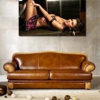 canik2 Canvas Print Stretched Wrapped sexy girl lying kitchen table 26x48""