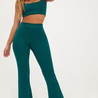 Forest Green High Waist Extreme Flare Long Leg Trousers
