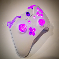 Xbox One Controller Pink Led Mod White Shell
