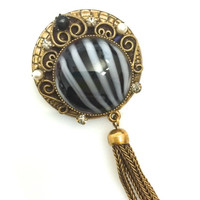 Renaissance Revival Original by Robert  Brooch/Pendant, Round Black and White Striped Art Glass, Dangle Brooch, Gold Tone
