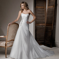 2012 Maggie Sottero Bridal - Diamond White Organza Gathered Jeweled Strapless Debbie Wedding Gown - 0 - 28 - Unique Vintage - Cocktail, Evening & Pinup Dresses