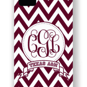 Texas A&M Aggies Personalized iPhone Case, Cover, Shell - Chevron Monogram Banner