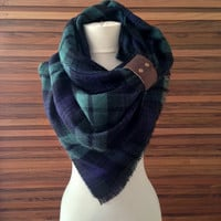 Zara Style Tartan Blanket Scarf Plaid Fringed Green Blue Blogger Favourite Fall SALE!