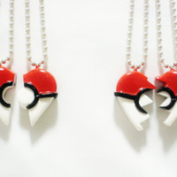 Pokeball Inspired Heart BFF/ Couple's by SaphirazlilJewels on Etsy