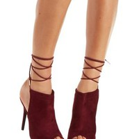 Wine Lace-Up Peep Toe Heels by Charlotte Russe