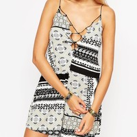 ASOS TALL Playsuit With Lace Up In Bandana Print