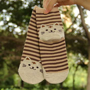 Cat Footprints Cute Cotton Socks Floor meias Women Animals Style Cat Striped Cartoon Sock SM6