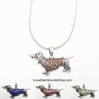Dachshund in Sweater Rhinestone Necklace