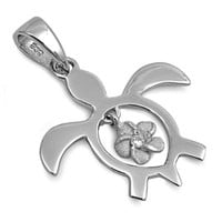 Sterling Silver Turtle pendant with cute Flower charm dangle