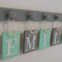 Baby Gift Personalized 5 Letter Name EMILY . Mint and Gray Unique Gift . Baby Girl Shower Gifts . Custom New Baby Nursery Name Sign