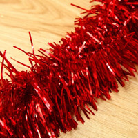 NFLC 2m (6.5 Ft) Christmas Tinsel Tree Decorations Tinsel Garland red