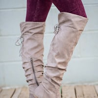 Knee High Fold Over Lace Suede Boots-Taupe