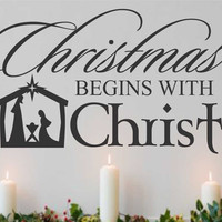 Christmas Begins With Christ | Nativity Scene Decal | Holiday Quote