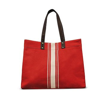 NEW! Carryall Tote - Mod Stripe Cream/ Red