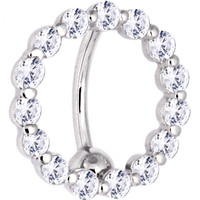 Solid 14KT White Gold REVERSE Zirconia CIRCLE Belly Ring   Body Candy Body Jewelry