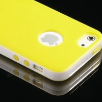 Pandamimi iphone 5 case - Deluxe Yellow White Fashion Sweety Girls TPU + PC 2-Piece Style Hard Case Cover for Apple iPhone 5 5G + Screen Protector