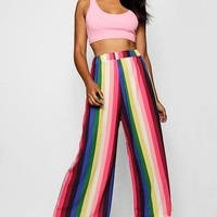 Rainbow Stripe Wide Leg Trouser | Boohoo