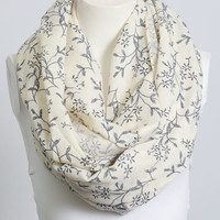 Cream and Blue Garden Floral Infinity Scarf