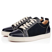 Sale Christian Louboutin Cl Louis Junior Men's Flat Navy Leather 18s Shoes 1180031bl1u