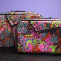 Vintage multicolored luggage set, made in Japan