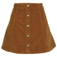 Cord Button Front A-Line Skirt - Tan