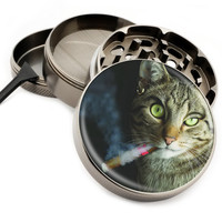 "Cigar Smokin Cat - 2.5"" Premium Zinc Herb Grinder - Custom Designed"