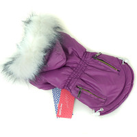 Large Puppy Dog Hoodies Fur Trimmed Dog Hoodie Candy Color Puppy Cat Warm Coat Waterproof Pet Costume