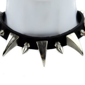 """Black Leather 1.5"""" Claw & Spike Gothic Choker Necklace"""