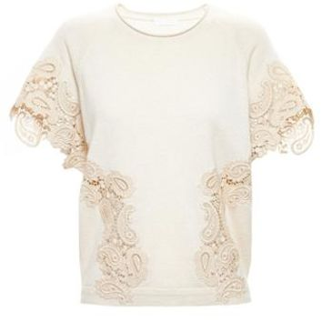 CHLOÉ   Cashmere and Lace Top   brownsfashion.com   The Finest Edit of Luxury Fashion   Clothes, Shoes, Bags and Accessories for Men & Women