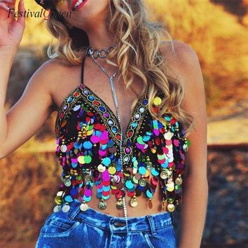 FestivalQueen Multicolor Sequin Tassel Mermaid Crop Top 2018 Beach Festival Harness Party Bralette Beading Coins Cami Tops