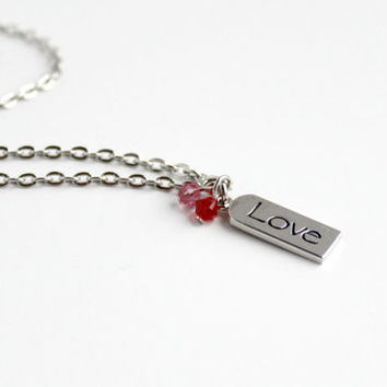 """Dainty Pink and Red Swarovski Beaded Pendant with """"Love"""" Word Charm - Romantic Valentine's Day Jewelry"""